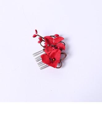 Элегантные горный хрусталь/шелковые цветы Комбс и заколки