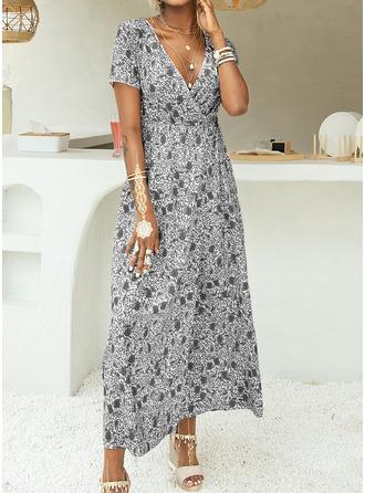 Blommig Print A-linjeklänning Korta ärmar Maxi Fritids Semester skater Modeklänningar