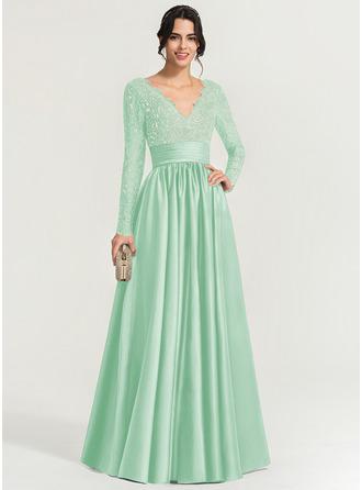 A-Line/Princess V-neck Floor-Length Satin Evening Dress