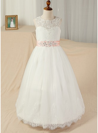 Ball-Gown Scoop Neck Floor-Length Tulle Junior Bridesmaid Dress With Sash