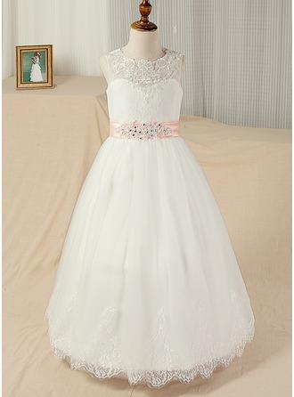 Duchesse-Linie U-Ausschnitt Bodenlang Tüll Kleid für junge Brautjungfern mit Schleifenbänder/Stoffgürtel