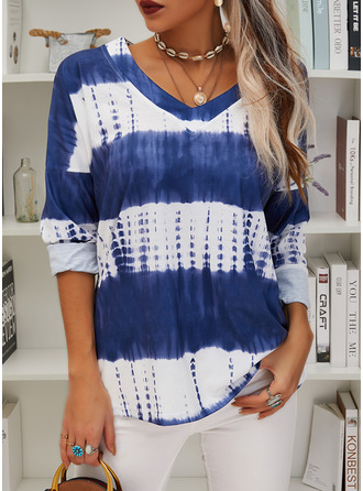 Tie Dye Color Block V-Neck Long Sleeves Casual Blouses