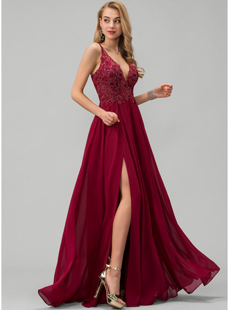 A-Line V-neck Floor-Length Chiffon Evening Dress With Lace Sequins Split Front