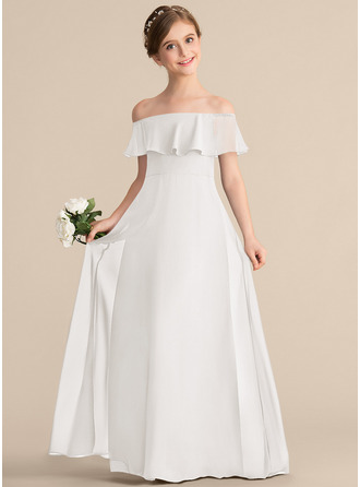 A-Line/Princess Off-the-Shoulder Floor-Length Chiffon Junior Bridesmaid Dress With Cascading Ruffles
