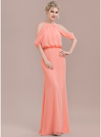 Trumpet/Mermaid Scoop Neck Floor-Length Chiffon Prom Dresses With Ruffle