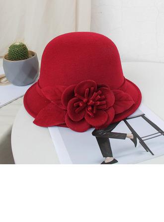 Señoras' Hermoso/Simple/Pretty Mezcla de lana con Flores de seda Bombín / cloché Sombrero