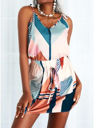 Color Block Print Striped Sheath Sleeveless Mini Casual Type Dresses