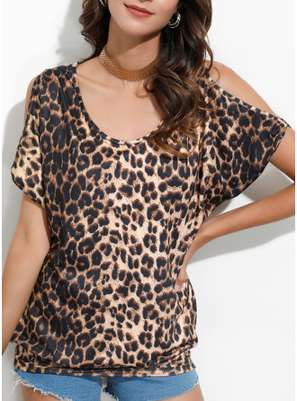 Leopard Print Cold Shoulder 1/2 Sleeves Casual