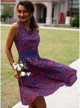 Kwiatowy Koronka Nadruk Sukienka Trapezowa Bez Rękawów Midi Nieformalny Elegancki Łyżwiaż Modne Suknie