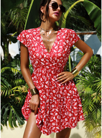 Knee Length V neck Polyester Print Cap Sleeve Fashion Dresses