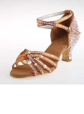 De mujer Satén Tacones Danza latina con Rhinestone Tira de tobillo Zapatos de danza