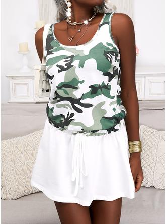 Print Camouflage A-lijn-jurk Mouwloos Mini Casual schaatser ()