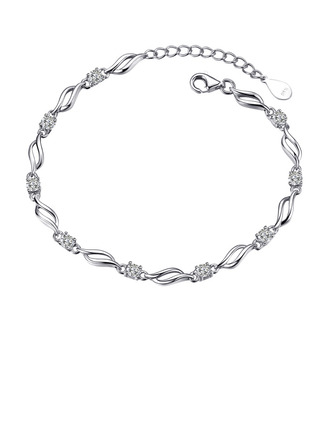 Ladies' Elegant 925 Sterling Silver Cubic Zirconia Bracelets For Bridesmaid/For Friends