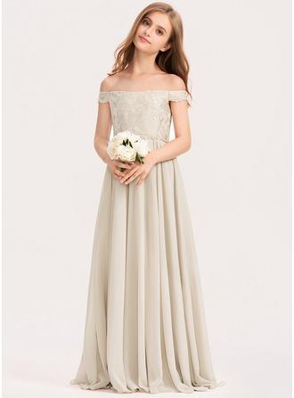 A-Linie Off-the-Schulter Bodenlang Chiffon Spitze Kleid für junge Brautjungfern
