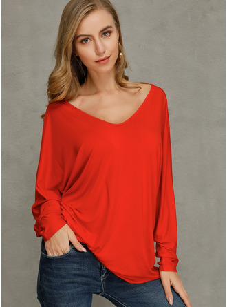 Solid V-Neck Long Sleeves Basic Button Up Casual T-shirt