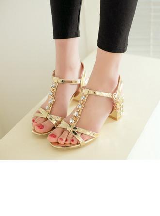 Женщины кожа Устойчивый каблук Сандалии Beach Wedding Shoes с горный хрусталь