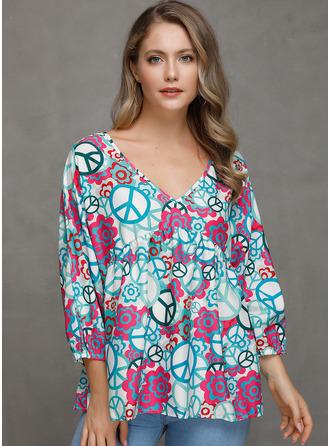 Print V-Neck Long Sleeves Casual Elegant