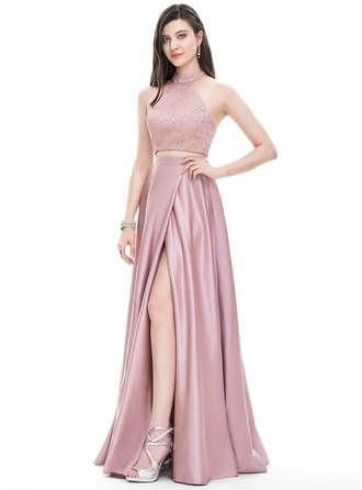 A-Line/Princess Scoop Neck High Neck Floor-Length Satin Prom Dress With Split Front