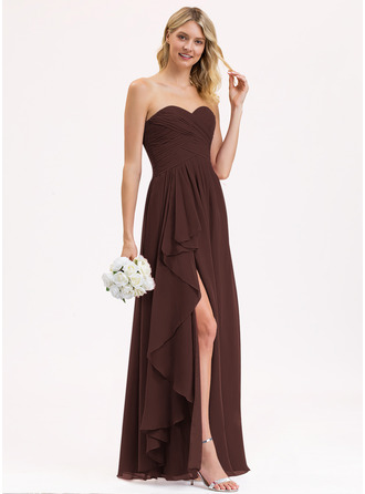A-Line Sweetheart Floor-Length Chiffon Bridesmaid Dress With Split Front Cascading Ruffles