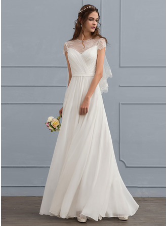A-Line/Princess Scoop Neck Floor-Length Chiffon Wedding Dress With Ruffle