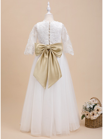 Ball-Gown/Princess Floor-length Flower Girl Dress - Satin 3/4 Sleeves Scoop Neck With Sash/Beading/Bow(s)