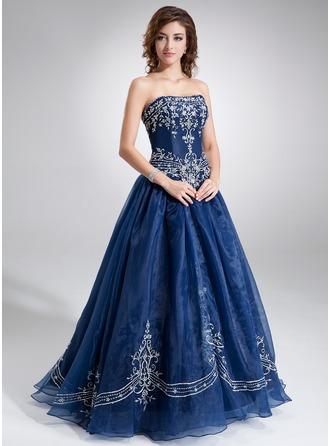 Duchesse-Linie Herzausschnitt Bodenlang Organza Quinceañera Kleid (Kleid für die Geburtstagsfeier) mit Bestickt Perlen verziert