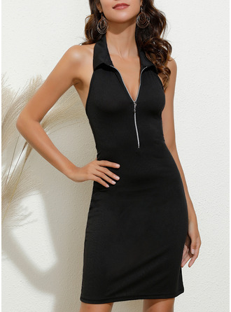 Solid Bodycon Sleeveless Mini Casual Sexy Dresses