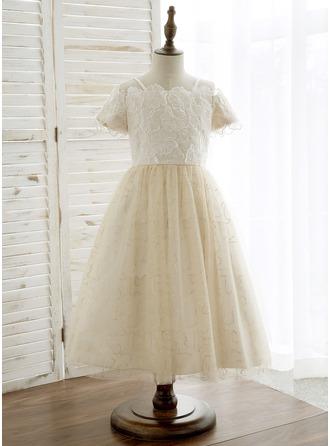 A-Line/Princess Tea-length Flower Girl Dress - Tulle/Lace Short Sleeves Off-the-Shoulder
