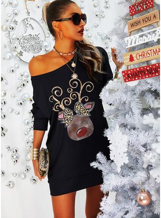 Leopard Animal Print Shift Long Sleeves Mini Casual Christmas Sweatshirt Dresses