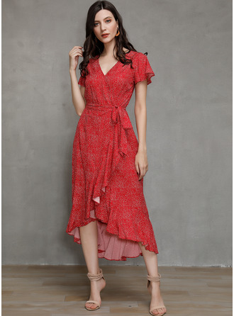 A-line V-Neck Cotton Dresses