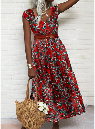 Floral Print A-line Short Sleeves Maxi Vacation Skater Dresses