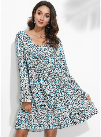 Leopard Shift Long Sleeves Midi Casual Tunic Dresses