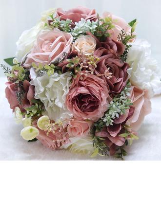 Maravilloso Redondo Flores Artificiales Ramos de novia (vendido en una sola pieza) -