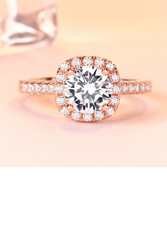 Sterling silver Cubic Zirconia Halo Round Cut Löfte ringar ()