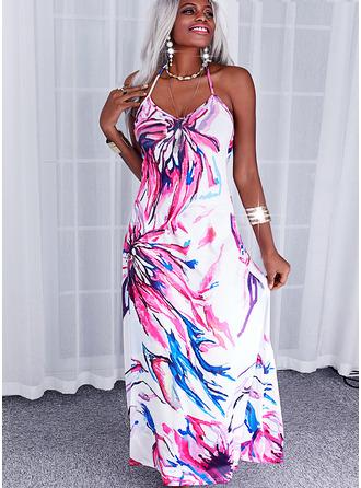 Blomstrete Trykk ryggløse A-line kjole Ermeløs Maxi Avslappet Ferie skater Typen Motekjoler