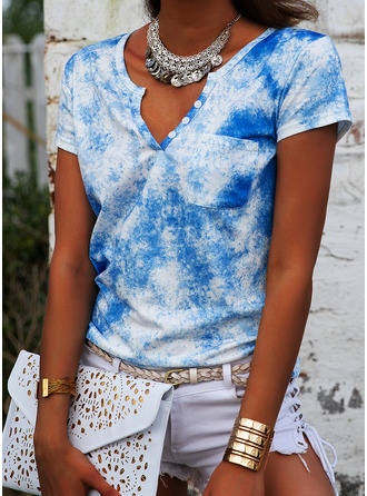 Tie Dye V-Neck Short Sleeves Button Up Casual T-shirt