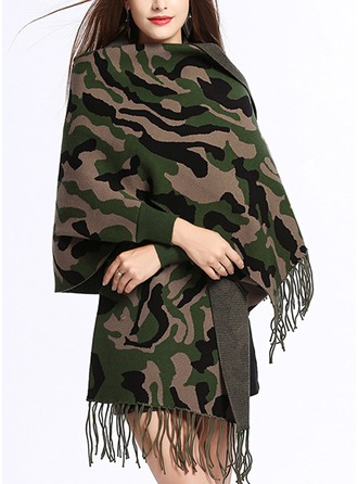 Tassel Cold weather Polyester Poncho