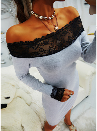 Lace Solid Bodycon Long Sleeves Mini Little Black Casual Elegant Dresses