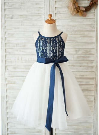 A-Line/Princess Knee-length Flower Girl Dress - Tulle/Lace Sleeveless Scoop Neck With Detachable Sash