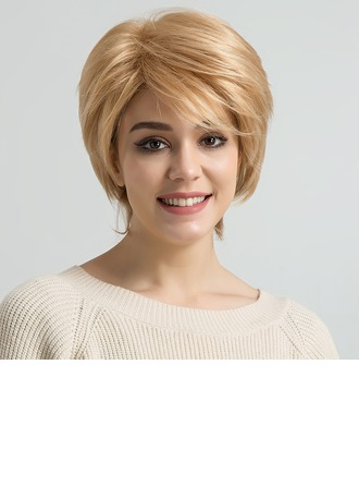 Kinky Straight Human Hair Blend Human Hair Wigs 80g