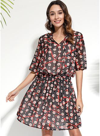 Print A-linjeklänning 3/4 ärmar Mini Fritids Elegant skater Modeklänningar
