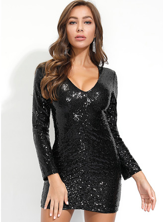 Knee Length V neck Polyester Sequins/Solid Long Sleeves Fashion Dresses