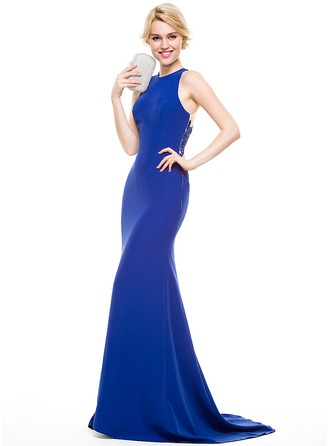 Trumpet/Mermaid Scoop Neck Sweep Train Satin Prom Dress With Appliques Lace
