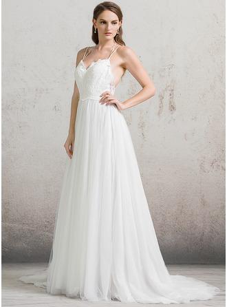A-Line/Princess Sweetheart Court Train Tulle Wedding Dress