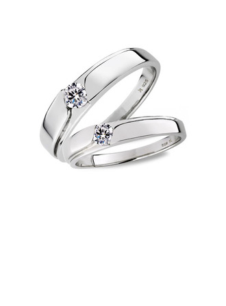 Sterling silver Cubic Zirconia Round Cut Parets ringar