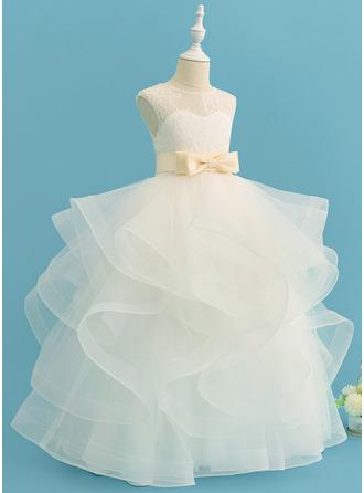 Balo Elbisesi/Prenses Uzun Etekli Çiçek Kız Elbise - Saten/Tül/Dantel Kolsuz Yuvarlak Yaka Ile Yaylar) (Çıkarılabilir kanat)
