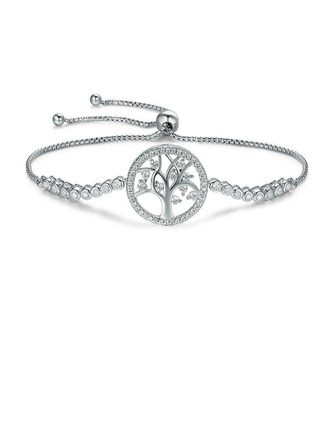 Geplatineerd Schakelketting Bruids armbanden Bolo armbanden met Boom - Valentijnsgeschenken Voor Haar