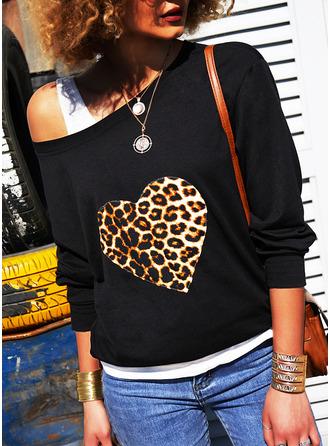 Leopard One Shoulder Long Sleeves Sweatshirt