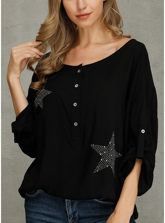 Sequins Solid V-Neck 1/2 Sleeves Button Up Casual