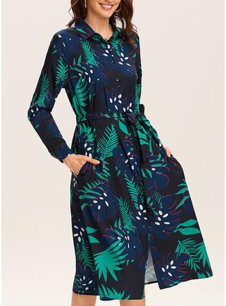 Floral Print A-line Long Sleeves Midi Casual Vacation Shirt Skater Dresses